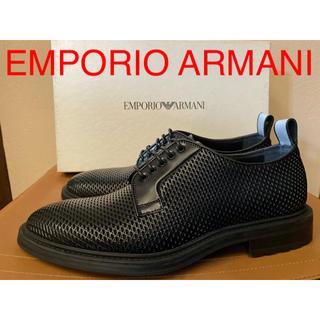 エンポリオアルマーニ(Emporio Armani)の新品 エンポリオ アルマーニ エンボス加工カーフスキンダービーシューズ 革靴 (ドレス/ビジネス)