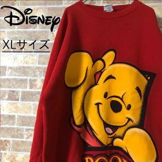ディズニー(Disney)の【古着】Disney プーさん スウェット 赤(スウェット)