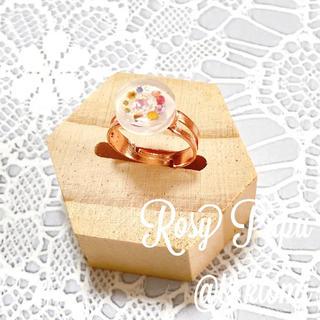 【Rosy Pupu】 プチフラワーフリーリング ピンクゴールド 花束輪 (リング)