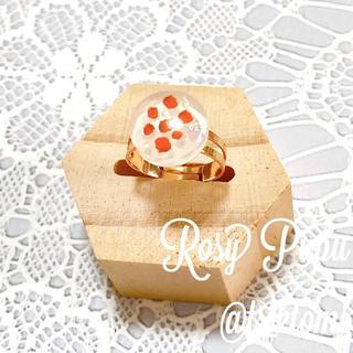 【Rosy Pupu】 プチフラワーフリーリング ピンクゴールド  赤花散(リング)