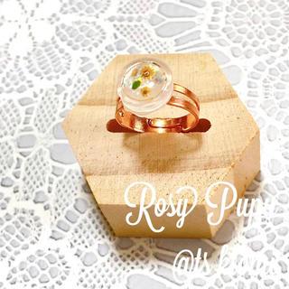 【Rosy Pupu】 プチフラワーフリーリング ピンクゴールド  黄花散(リング)