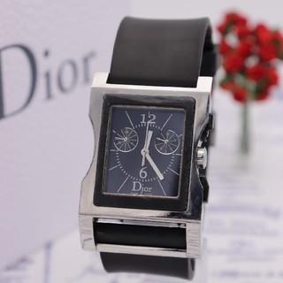 クリスチャンディオール(Christian Dior)の付属品完備【新品電池】ChristianDior/クロノグラフ 動作品 ブラック(腕時計(アナログ))