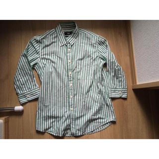 ハレ(HARE)のHAREハレメンズシャツ男性七分袖夏服ストライプ白緑ボーダーホワイトグリーンS(シャツ)