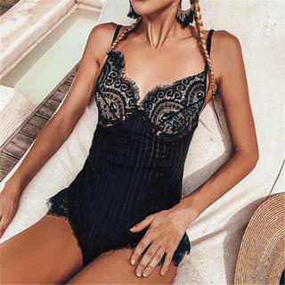 Victoria's Secret - ブラックレース ワンピーススイムウェア 水着 インポート