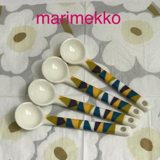 マリメッコ(marimekko)の値下!マリメッコ  スプーン 陶器 4本(カトラリー/箸)