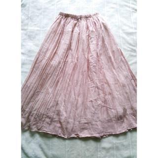 876 ガーゼ ピンク フレアスカート(ロングスカート)