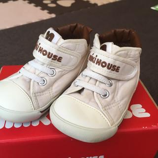 mikihouse - 【ミキハウス】白キャンバススニーカー14センチ
