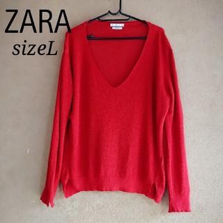 ZARA - ZARA イタリアンヤーン 赤のサマーニット Lサイズ