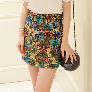 リリーブラウン(Lily Brown)のオリエンタルデザインスカート 韓国(ミニスカート)