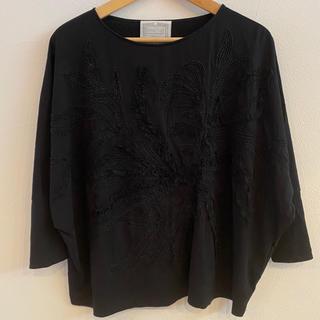 ビアズリー(BEARDSLEY)のBEARDSLEY ビアズリー カットソー 黒 七分袖 Tシャツ(カットソー(長袖/七分))