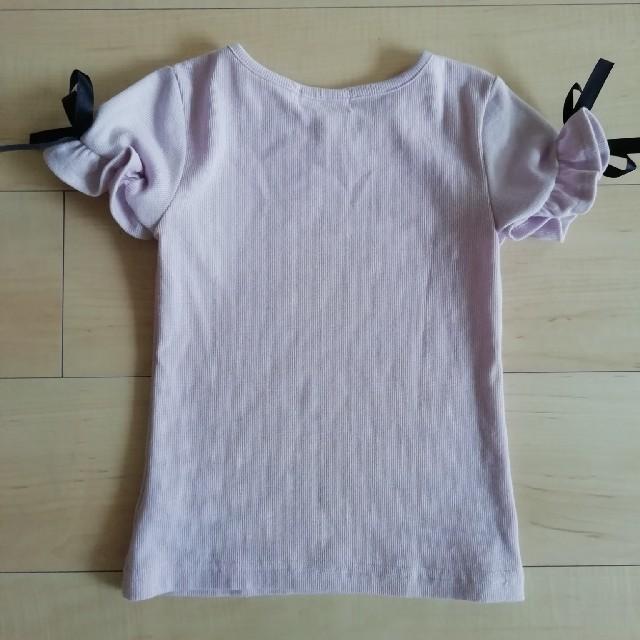 しまむら(シマムラ)の袖リボン Tシャツ 薄紫 キッズ/ベビー/マタニティのキッズ服女の子用(90cm~)(Tシャツ/カットソー)の商品写真