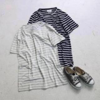 トゥデイフル(TODAYFUL)のTODAYFUL ラフボーダーTシャツ ビッグT ゆったり 半袖 グレー 春 夏(Tシャツ(半袖/袖なし))