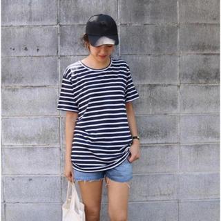 トゥデイフル(TODAYFUL)のTODAYFUL ラフボーダーTシャツ ビッグT ゆったり 半袖 ネイビー 春夏(Tシャツ(半袖/袖なし))