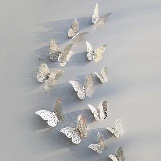 ボンポワン(Bonpoint)のバタフライ シルバー  蝶 ウォールデコレーション 12枚セット バースディに!(その他)