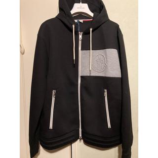 モンクレール(MONCLER)の新品 モンクレール ロゴ パーカー 秋冬 ブラック XLサイズ Moncler(パーカー)
