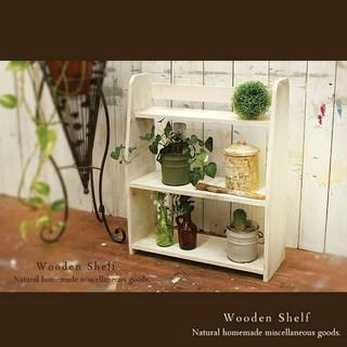ハンドメイド アンティーク風 置き型 シェルフ 木製 棚 ホワイト(家具)