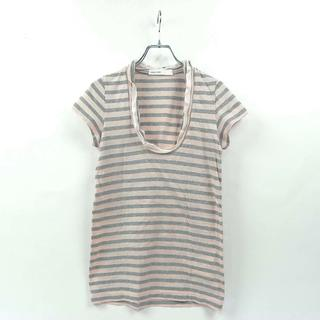 サカイラック(sacai luck)のサカイラック sacai luck ボーダー柄 UネックフリルTシャツ 半袖(Tシャツ(半袖/袖なし))