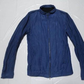 シェラック(SHELLAC)の希少 高級 riri美品◆シェラック ライダース ブルゾン青L◆レザージャケット(ライダースジャケット)