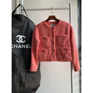 シャネル(CHANEL)のシャネル ノーカラー ツイード ジャケット ピンク&ゴールド(テーラードジャケット)