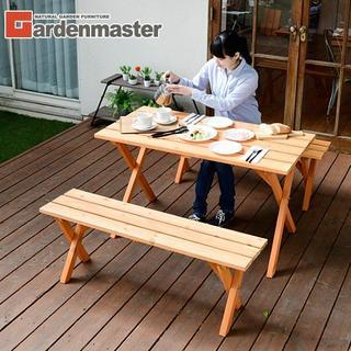 新品★テーブル&ベンチ 3点セット木製パラソルホール付き -k/e(テーブル/チェア)