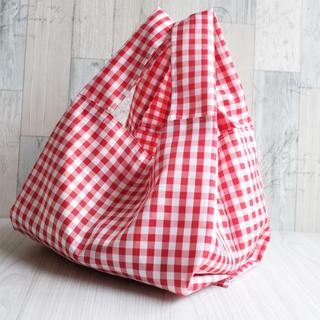 レジ袋型エコバッグ・コンビニ用ワイドサイズ 赤チェック白タグ(バッグ)