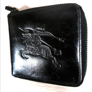 バーバリーブラックレーベル(BURBERRY BLACK LABEL)のBurberry レザー ラウンドジップ 財布 コンパクト(折り財布)