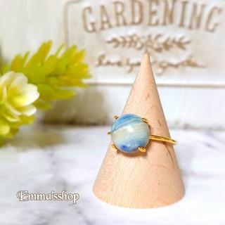天然石大粒ブルーシェーライトのリング、指輪silver925ゴールド(リング)