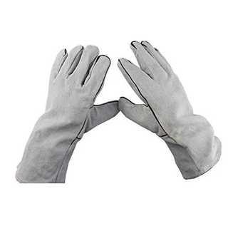 グレー[FJTK]ガーデニング バラ サボテンボール 牛革肥厚保護手袋 ソフト (その他)