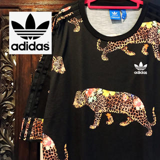 アディダス(adidas)のアディダス adidas 花柄 レオパード ワンピース Tシャツ ヒョウ柄 SM(ミニワンピース)
