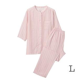 ムジルシリョウヒン(MUJI (無印良品))の 無印良品   脇に縫い目のない サッカー織り半袖パジャマ  婦人Lピンク×柄 (パジャマ)