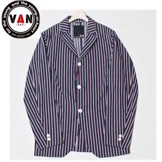 ヴァンヂャケット(VAN Jacket)の 2点セット《VAN JAC》新品 リネン混 ストライプ3Bジャケット 紺 L(テーラードジャケット)