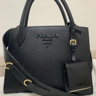 PRADA - 【美品】PRADA  モノクローム ハンドバッグ ショルダーバッグ サフィアーノ
