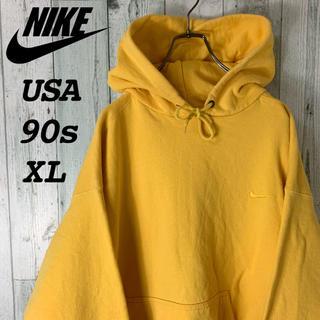 NIKE - 【スペシャル】ナイキ 銀タグ USA製 刺繍 ゆるダボ パーカー 黄色 古着