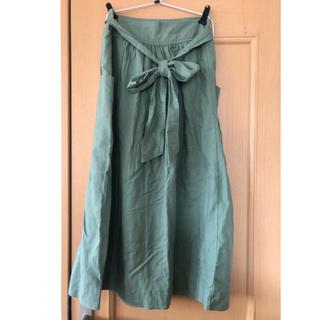 ギャップ(GAP)のロングスカート リネン 麻 グリーン  GAP カーキ(ロングスカート)