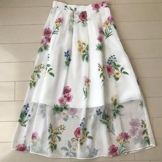 31 Sons de mode - シアー花柄プリントロングスカート
