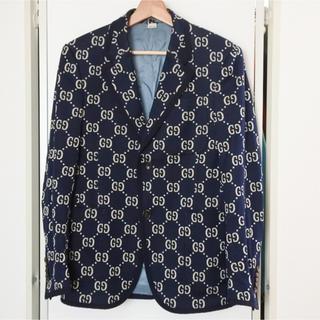 グッチ(Gucci)のグッチ GGジャガード 2B ジャケット 44 メンズ 総柄 ウール ネイビー(テーラードジャケット)