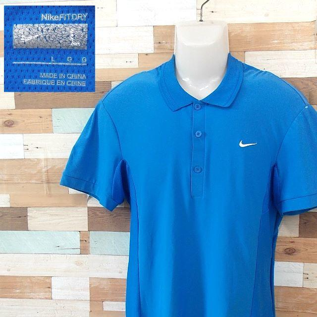 NIKE(ナイキ)の【NIKE】 美品 ナイキ 半袖ポロシャツ ブルー スポーツウェア サイズL メンズのトップス(ポロシャツ)の商品写真