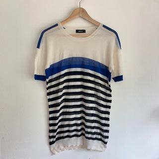 ズッカ(ZUCCa)のZUCCAズッカ透け感サマーニット ドロップショルダー半袖 ボーダー Tシャツ(Tシャツ(半袖/袖なし))