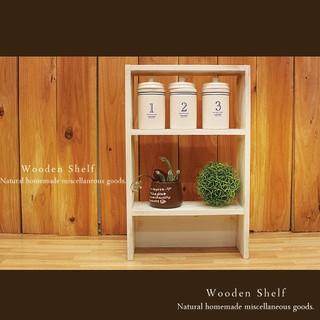 ハンドメイド アンティーク風 ミニシェルフ 木製 棚 ホワイト(家具)