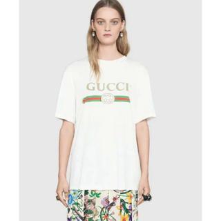 グッチ(Gucci)のむぎ様 専用 1回のみ着用 GUCCI ロゴ オーバーサイズ コットン Tシャツ(Tシャツ(半袖/袖なし))