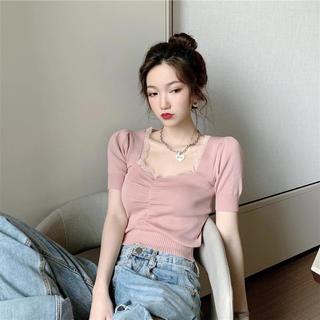 スタイルナンダ(STYLENANDA)のスクエアカット♡レーストップス(Tシャツ(半袖/袖なし))