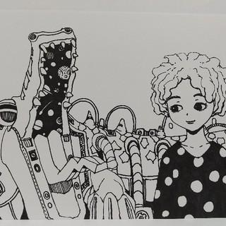 オリジナルイラスト 手描きイラスト メカニカルワニくんと女の子 原画 白黒 絵(アート/写真)