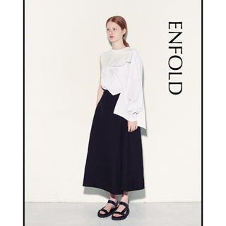 エンフォルド(ENFOLD)の【ENFOLD】スビン天竺ロングスカート とろみ素材 ブラック 36(ロングスカート)