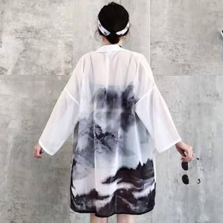 水墨画 法被 着物 浴衣 フリーサイズ(浴衣)