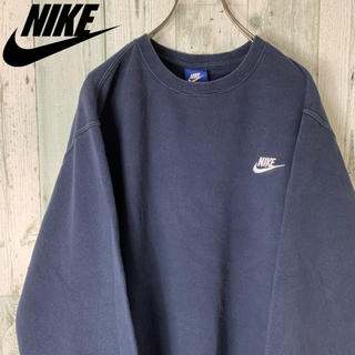 NIKE - 【グッドシルエット】 ナイキ ワンポイント 刺繍 ゆるダボ スウェット 紺 XL