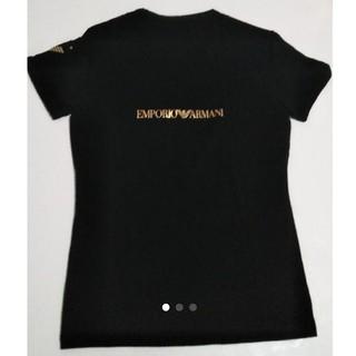 アルマーニ(Armani)の【美品】アルマーニ(レディース) Tシャツ(黒×ゴールド)(Tシャツ(半袖/袖なし))