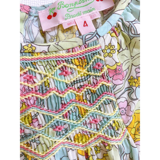 Bonpoint(ボンポワン)のbonpoint スモッキングブラウス4A キッズ/ベビー/マタニティのキッズ服女の子用(90cm~)(ブラウス)の商品写真