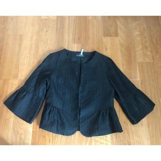 IENA - 美品 ノーカラージャケット ブラック ペプラム 七分袖 フォーマル 学校行事