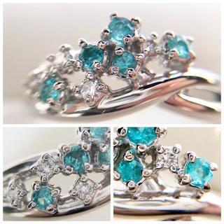 タサキ(TASAKI)の田崎真珠 パライバトルマリン  ダイヤモンド リング pt900(リング(指輪))