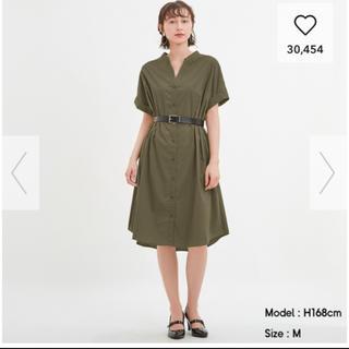 GU - Aラインシャツワンピース ジーユー GU 半袖 S